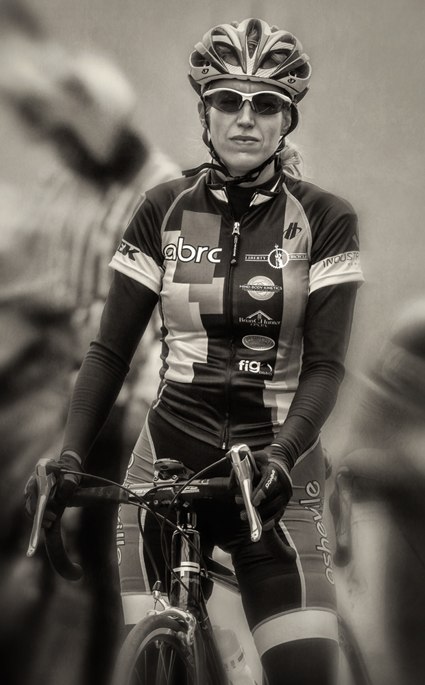 woman cyclist_bw